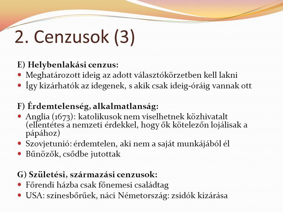 2. Cenzusok (3) E) Helybenlakási cenzus: