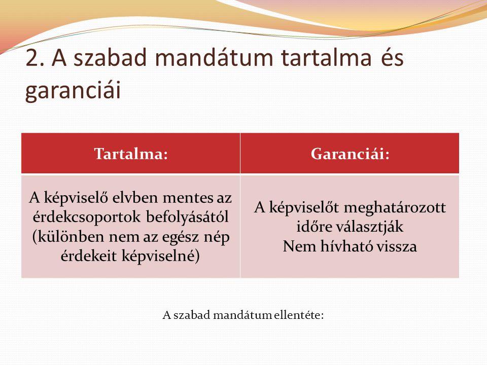 2. A szabad mandátum tartalma és garanciái