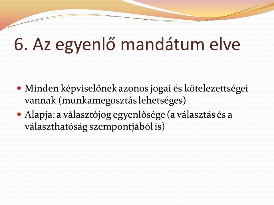 6. Az egyenlő mandátum elve