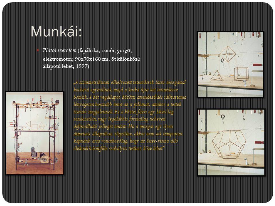 Munkái: Plátói szerelem (fapálcika, zsinór, görgő, elektromotor, 90x70x160 cm, öt különböző állapotú lehet, 1997)