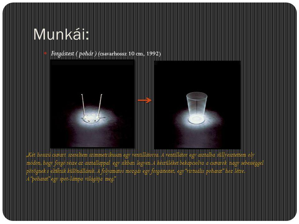 Munkái: Forgástest ( pohár ) (csavarhossz 10 cm, 1992)