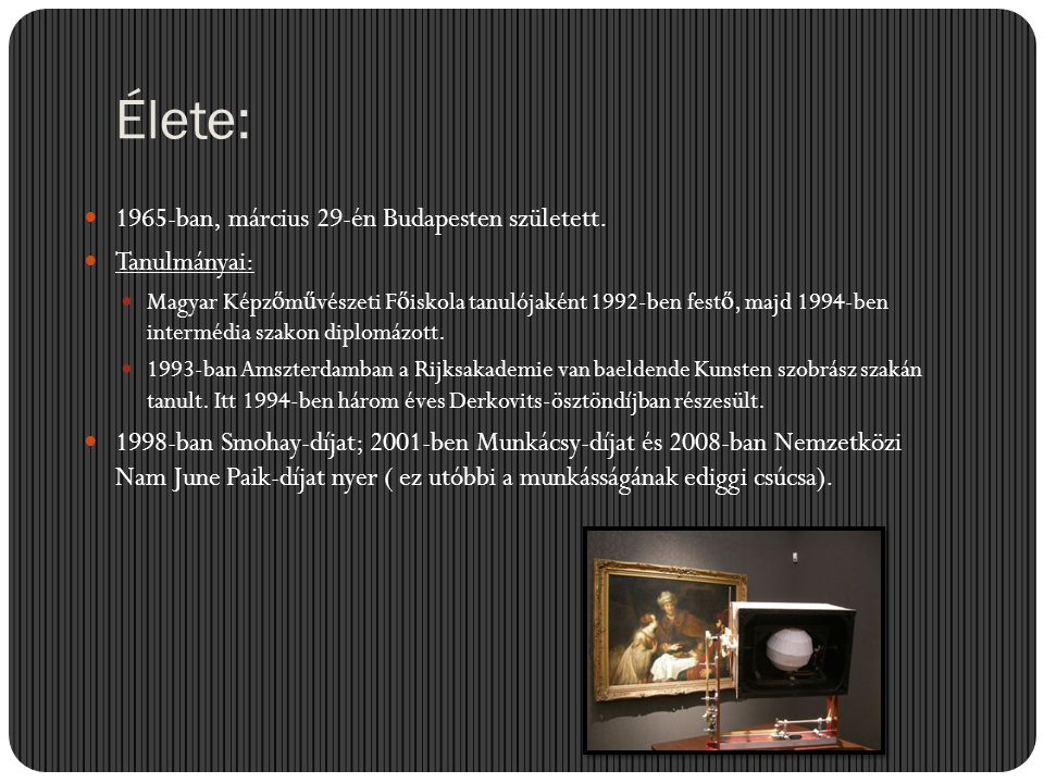 Élete: 1965-ban, március 29-én Budapesten született. Tanulmányai: