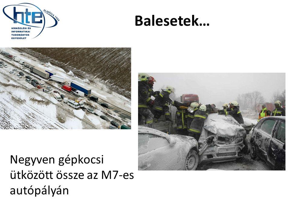 Balesetek… Negyven gépkocsi ütközött össze az M7-es autópályán