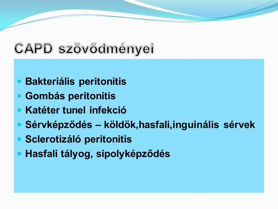 CAPD szövődményei Bakteriális peritonitis Gombás peritonitis