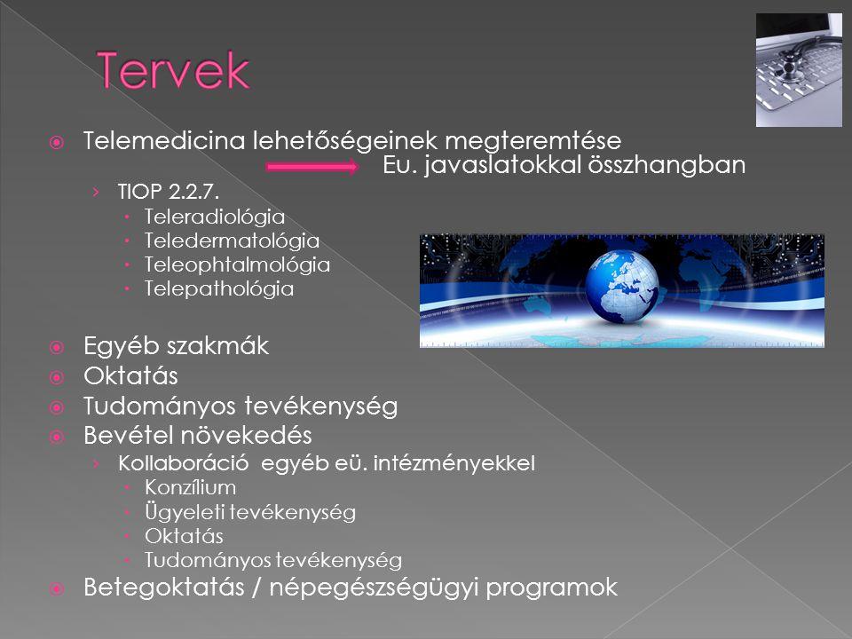 Tervek Telemedicina lehetőségeinek megteremtése Eu. javaslatokkal összhangban.