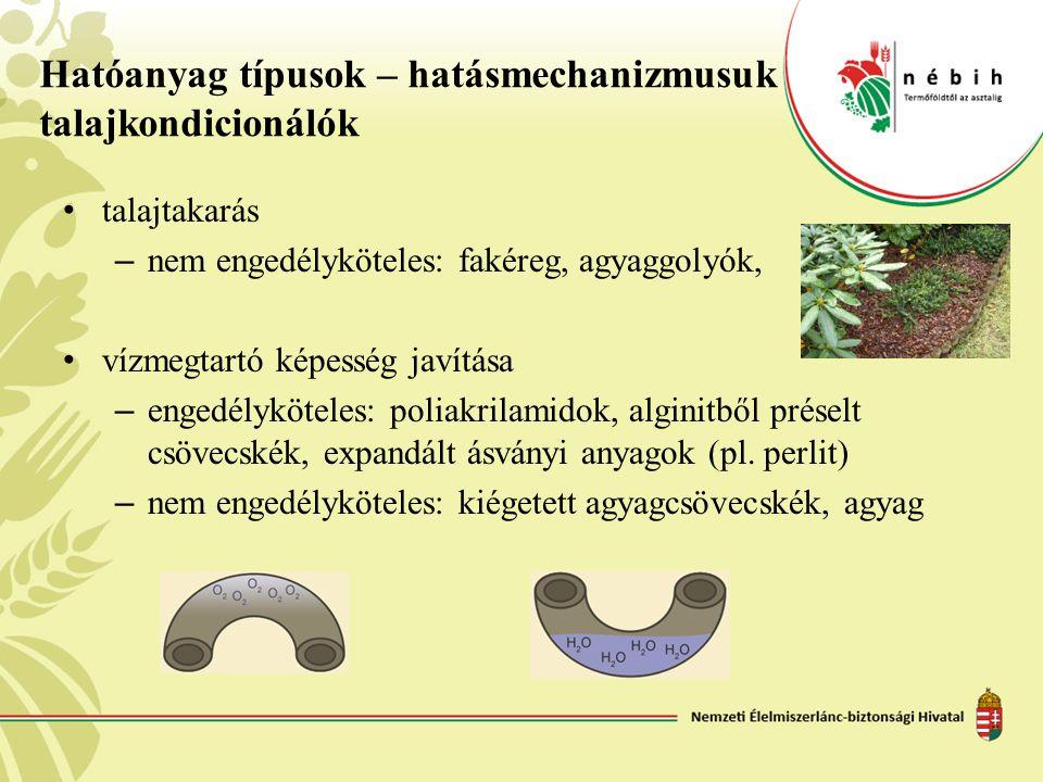 Hatóanyag típusok – hatásmechanizmusuk talajkondicionálók