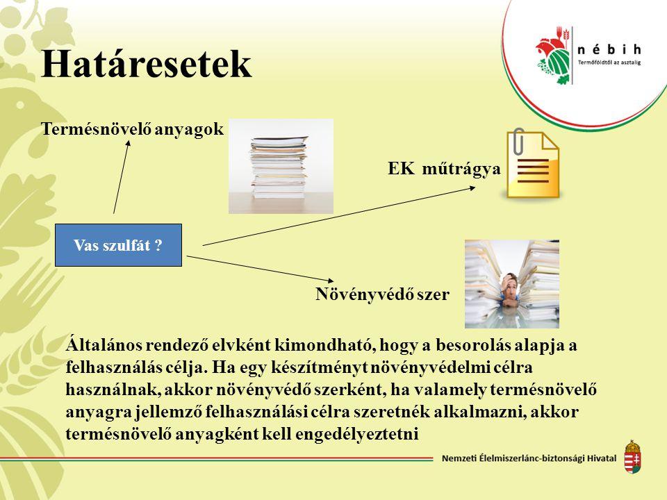 Határesetek Termésnövelő anyagok EK műtrágya Növényvédő szer