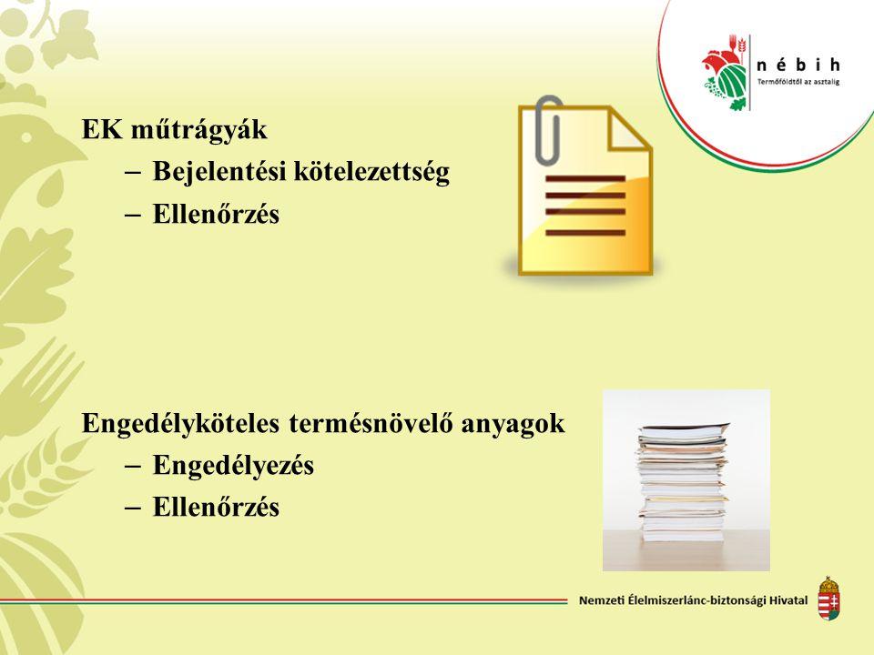 EK műtrágyák Bejelentési kötelezettség Ellenőrzés Engedélyköteles termésnövelő anyagok Engedélyezés