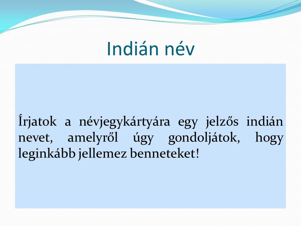 Indián név Írjatok a névjegykártyára egy jelzős indián nevet, amelyről úgy gondoljátok, hogy leginkább jellemez benneteket!