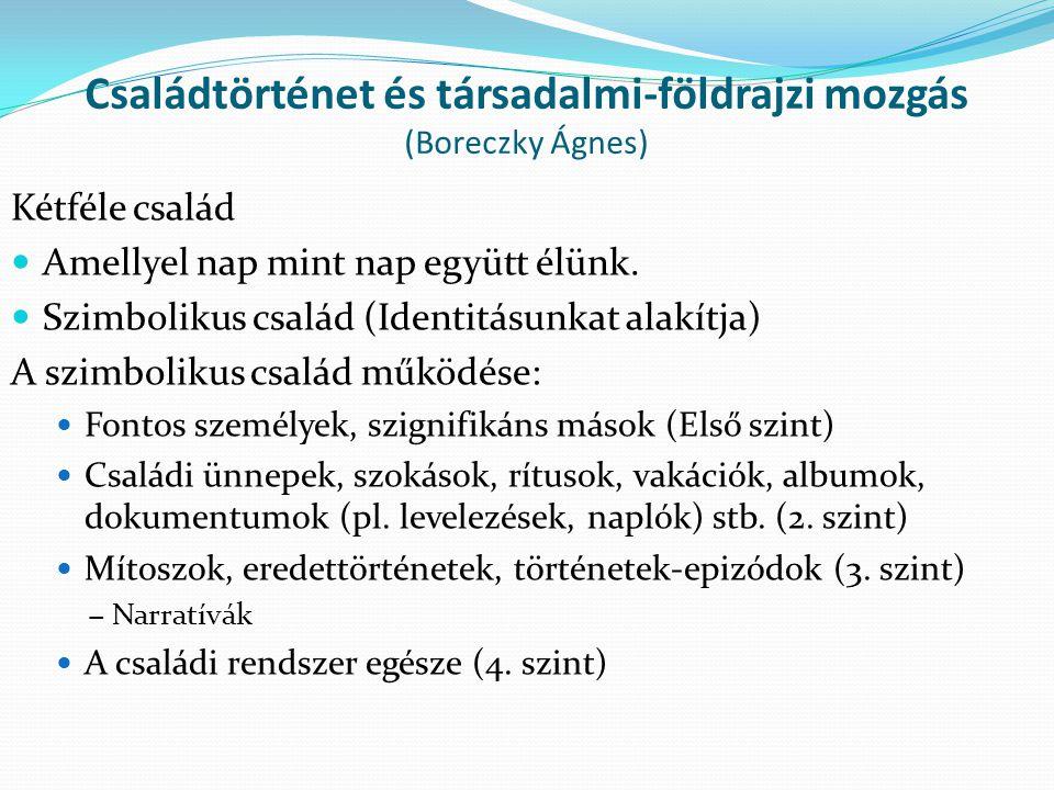 Családtörténet és társadalmi-földrajzi mozgás (Boreczky Ágnes)