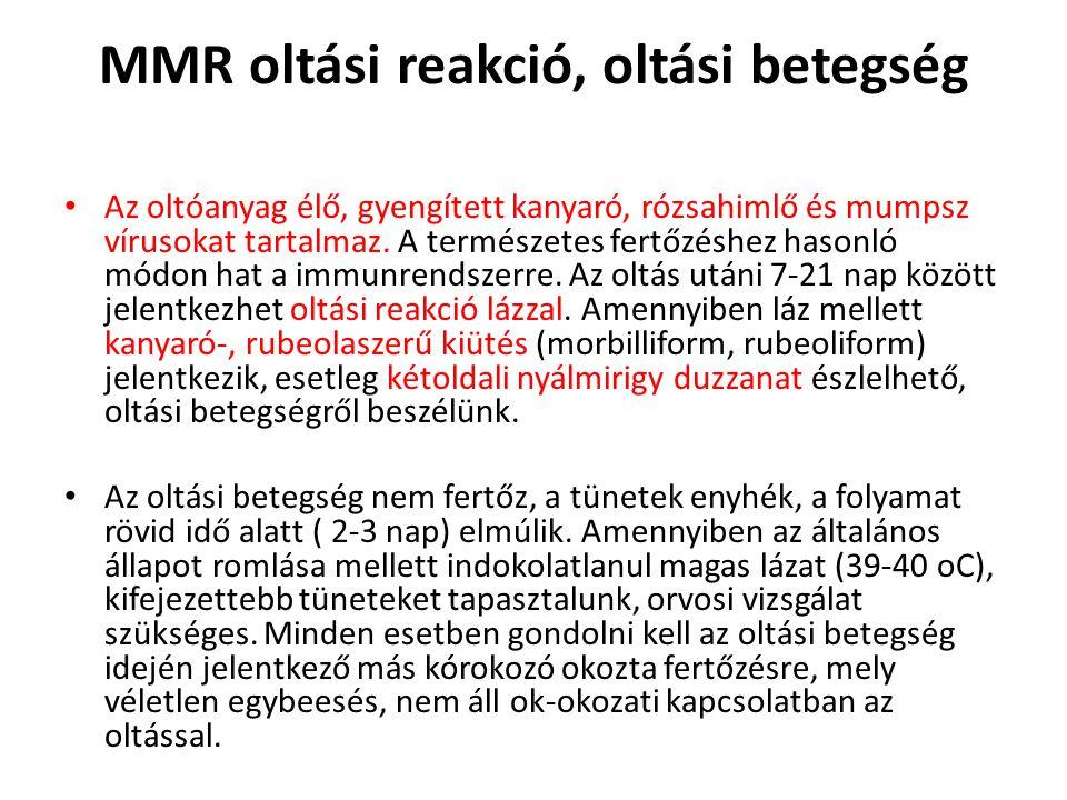 MMR oltási reakció, oltási betegség