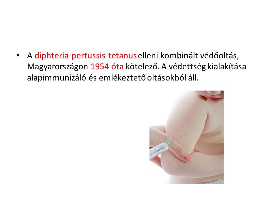 A diphteria-pertussis-tetanus elleni kombinált védőoltás, Magyarországon 1954 óta kötelező.