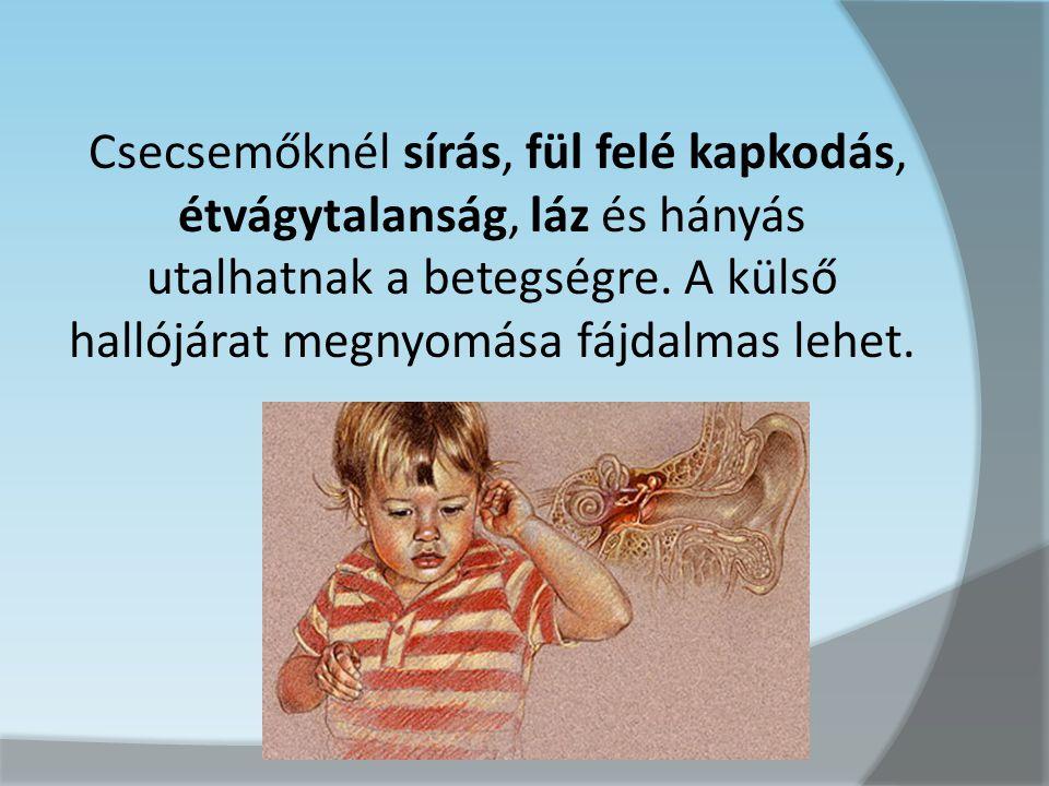 Csecsemőknél sírás, fül felé kapkodás, étvágytalanság, láz és hányás utalhatnak a betegségre.