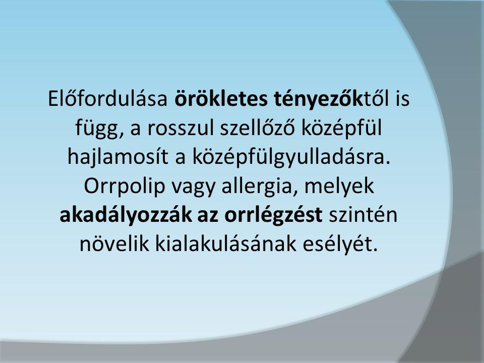 Előfordulása örökletes tényezőktől is függ, a rosszul szellőző középfül hajlamosít a középfülgyulladásra.