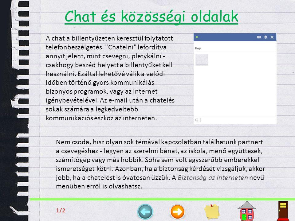 Chat és közösségi oldalak