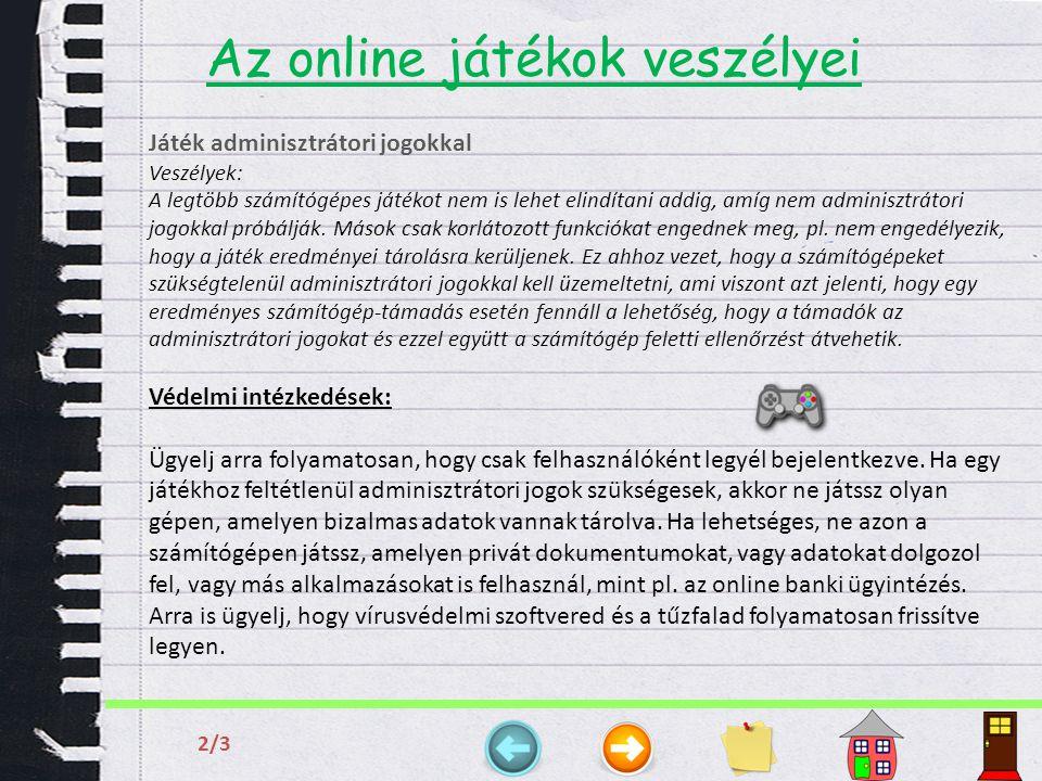 Az online játékok veszélyei