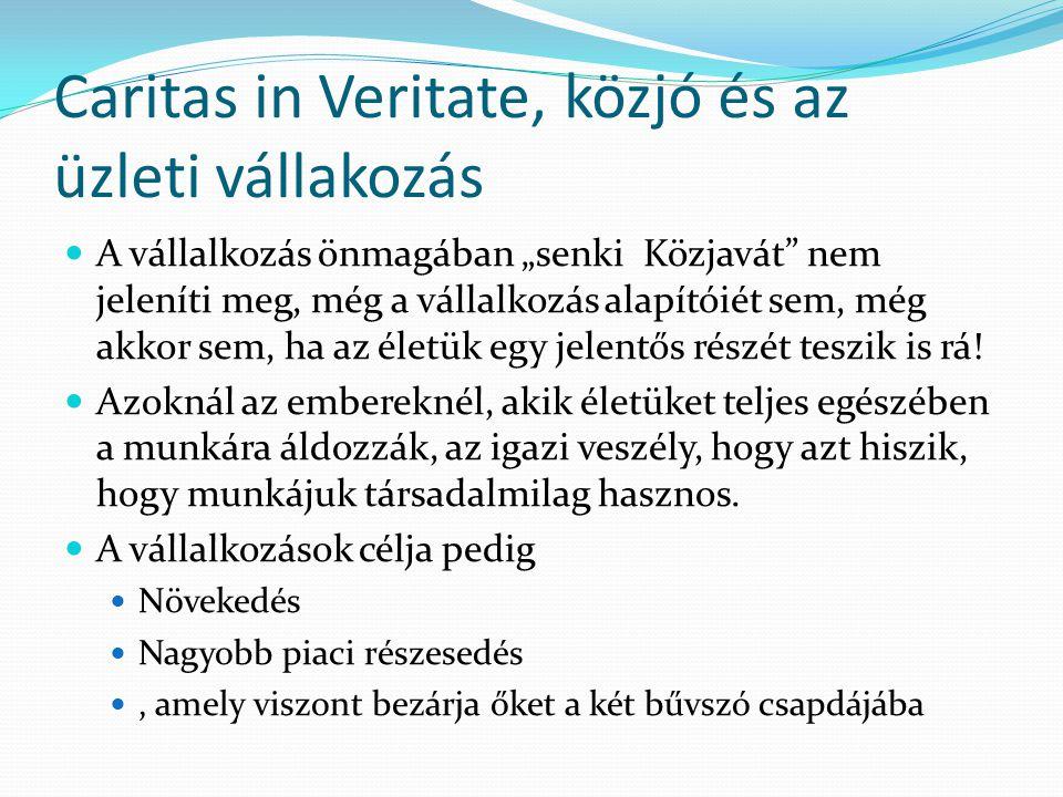 Caritas in Veritate, közjó és az üzleti vállakozás