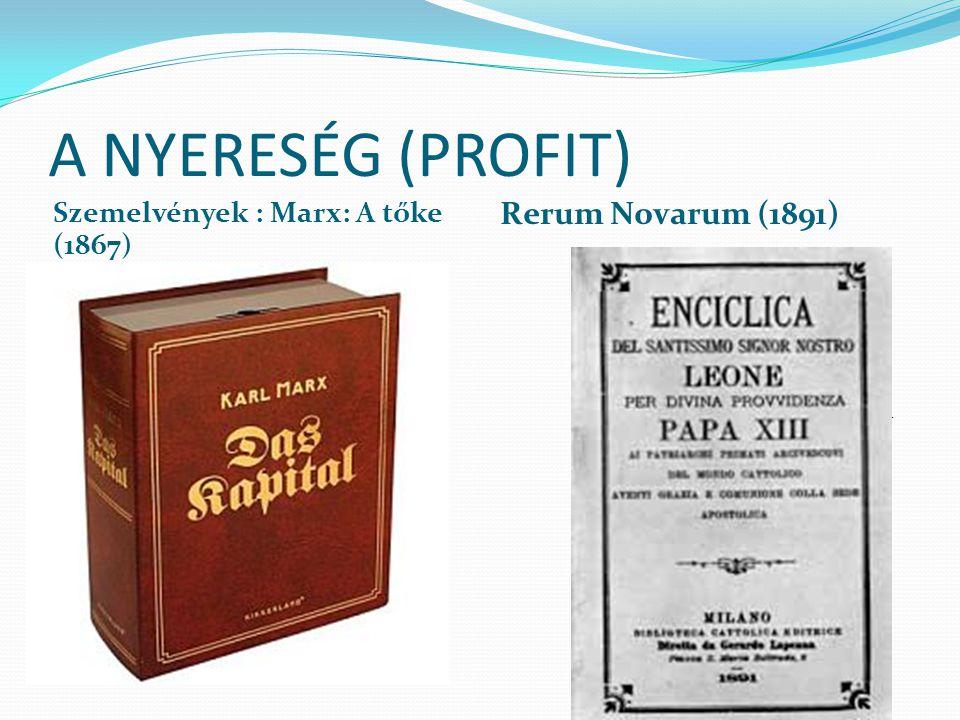 A NYERESÉG (PROFIT) Rerum Novarum (1891)