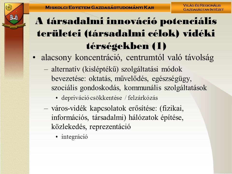 A társadalmi innováció potenciális területei (társadalmi célok) vidéki térségekben (1)