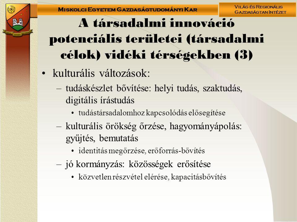 A társadalmi innováció potenciális területei (társadalmi célok) vidéki térségekben (3)
