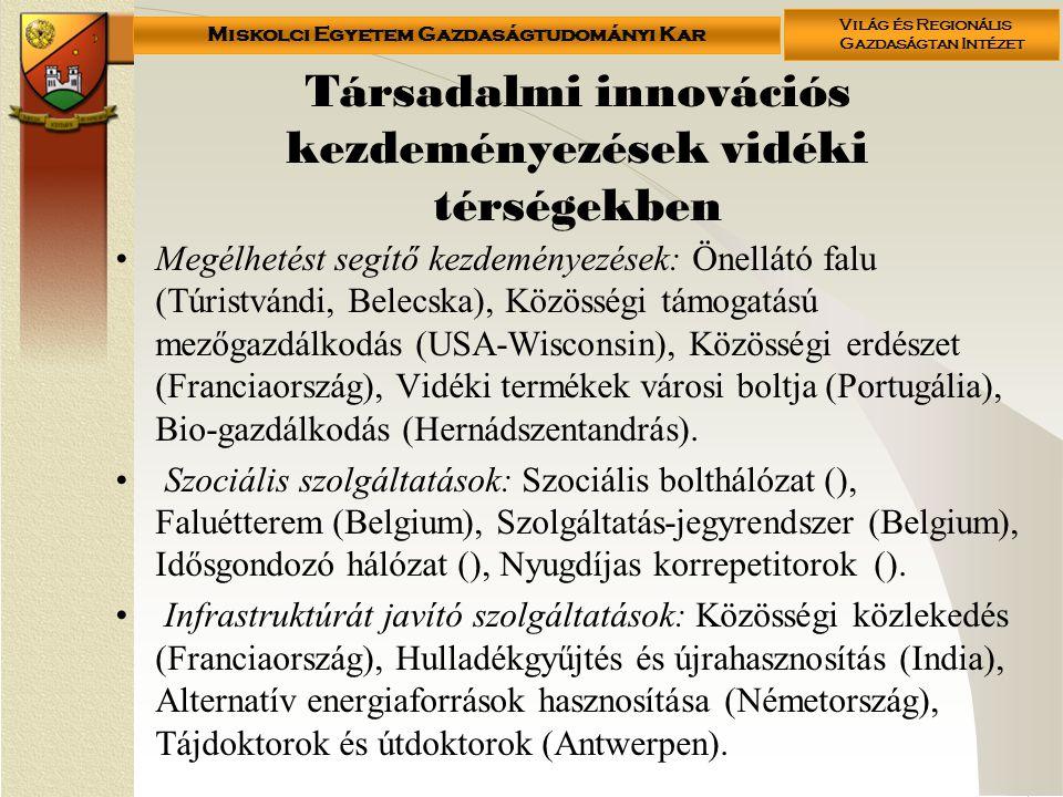 Társadalmi innovációs kezdeményezések vidéki térségekben