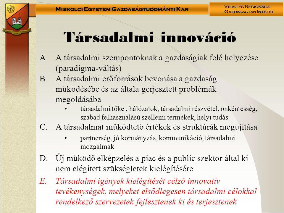 Társadalmi innováció A társadalmi szempontoknak a gazdaságiak felé helyezése (paradigma-váltás)