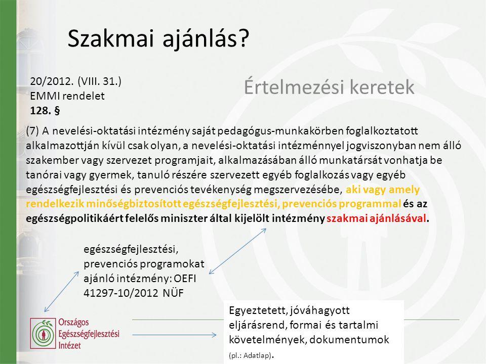 Szakmai ajánlás Értelmezési keretek 20/2012. (VIII. 31.)