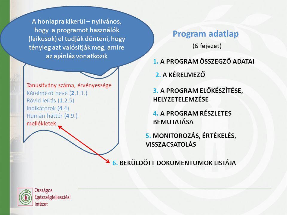 Program adatlap (6 fejezet)