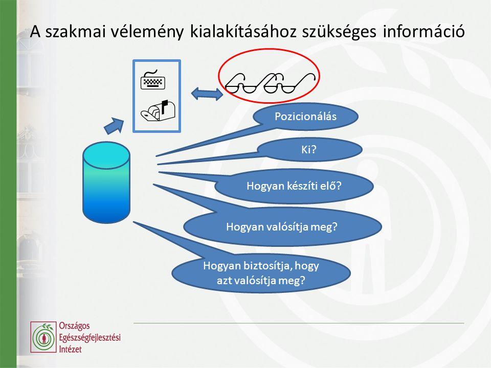 A szakmai vélemény kialakításához szükséges információ