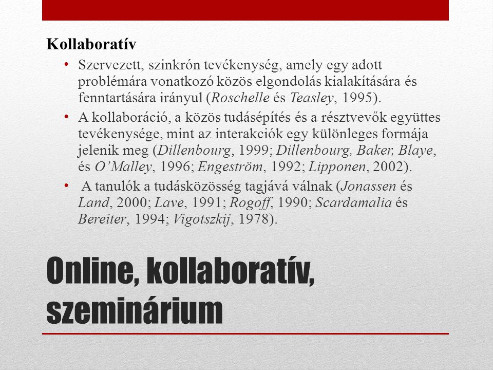 Online, kollaboratív, szeminárium