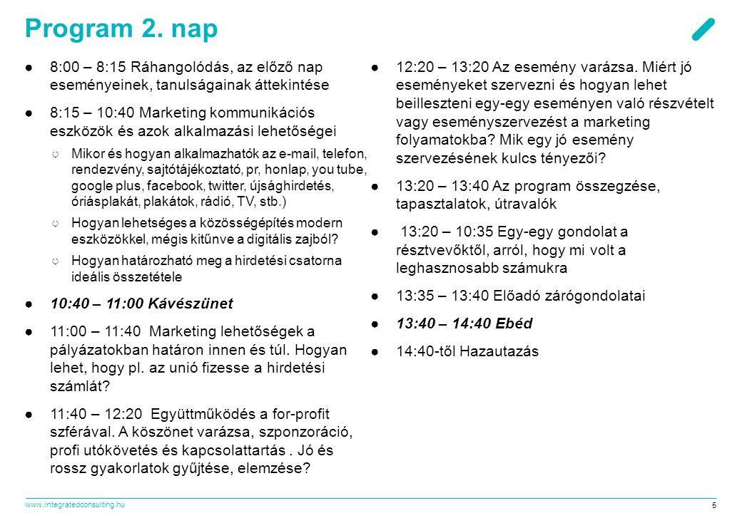 Program 2. nap 8:00 – 8:15 Ráhangolódás, az előző nap eseményeinek, tanulságainak áttekintése.