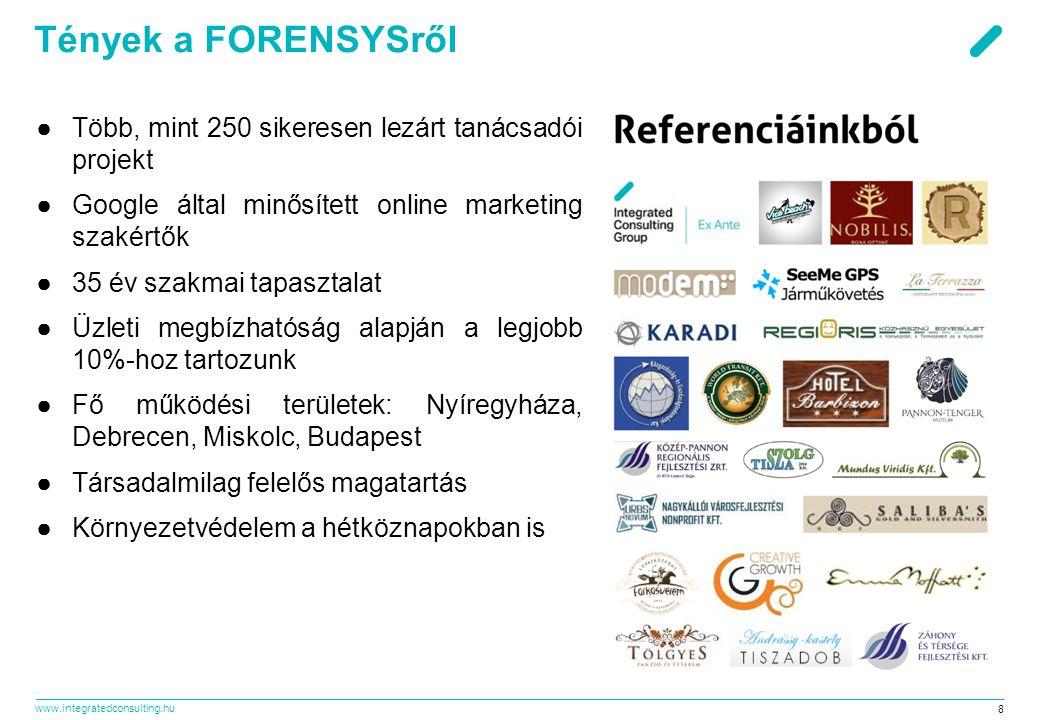 Tények a FORENSYSről Több, mint 250 sikeresen lezárt tanácsadói projekt. Google által minősített online marketing szakértők.