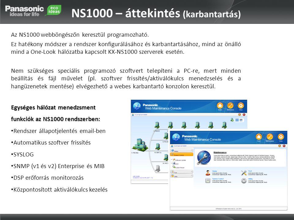 NS1000 – áttekintés (karbantartás)