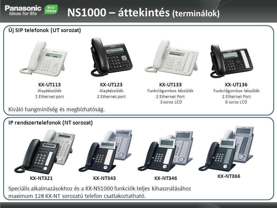 NS1000 – áttekintés (terminálok)