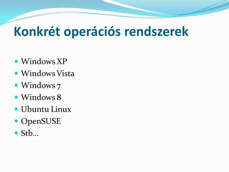 Konkrét operációs rendszerek