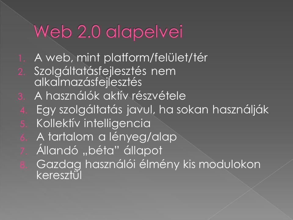 Web 2.0 alapelvei A web, mint platform/felület/tér