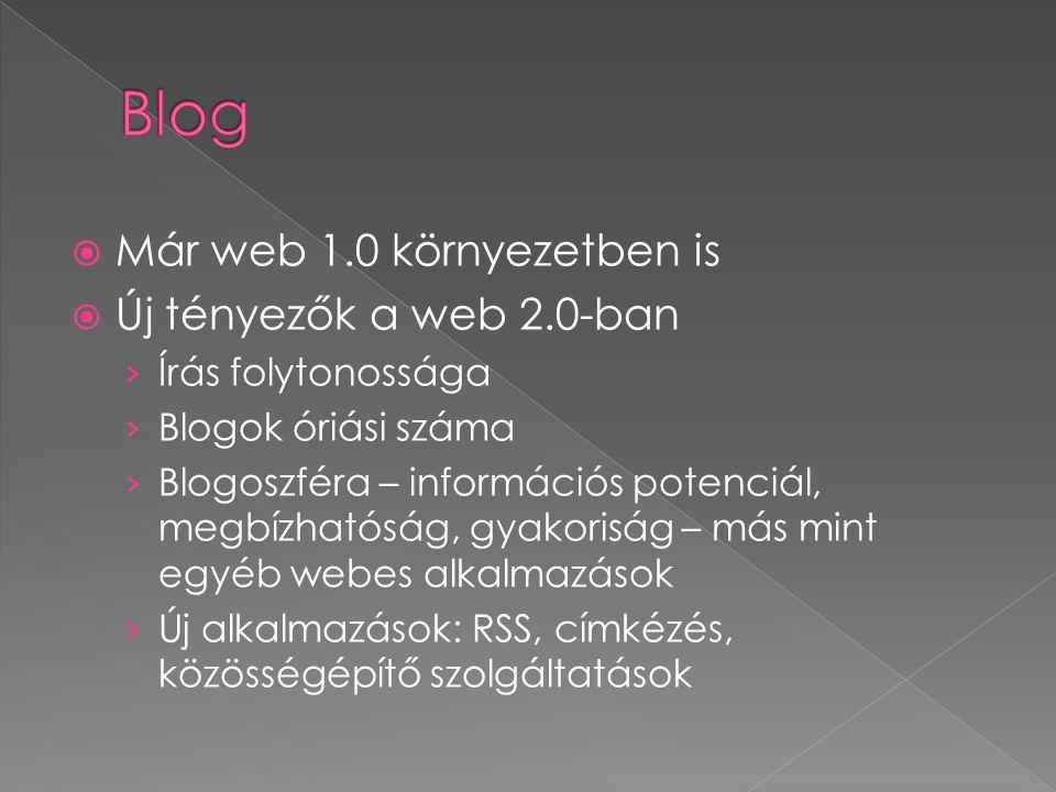 Blog Már web 1.0 környezetben is Új tényezők a web 2.0-ban