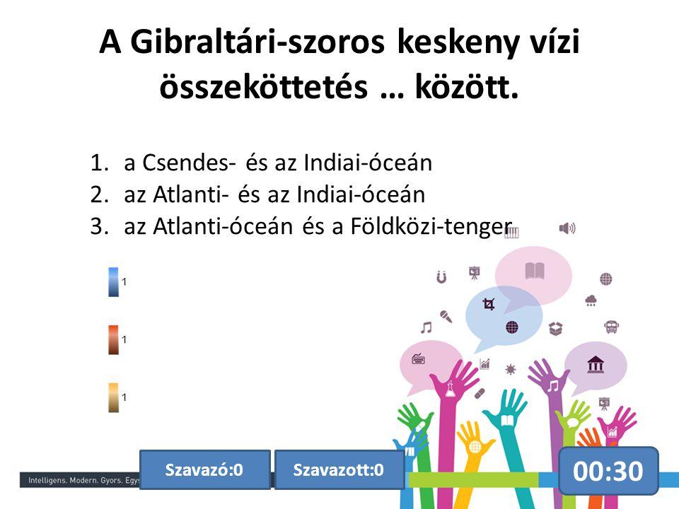 A Gibraltári-szoros keskeny vízi összeköttetés … között.