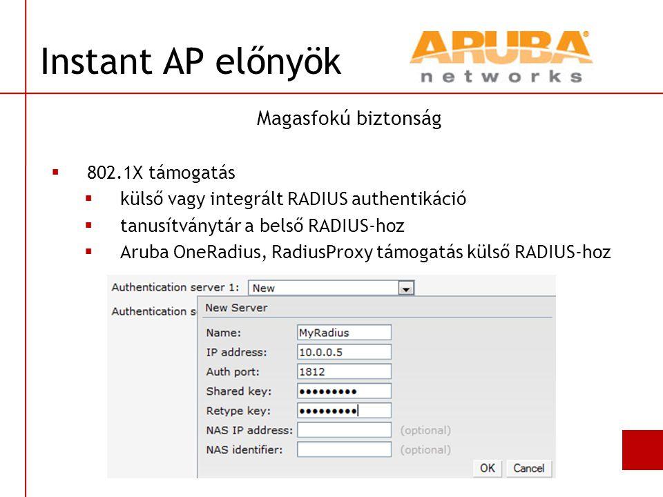 Instant AP előnyök Magasfokú biztonság 802.1X támogatás
