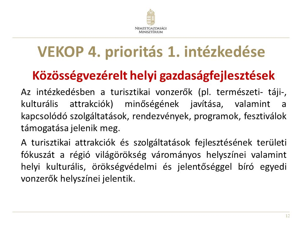 VEKOP 4. prioritás 1. intézkedése