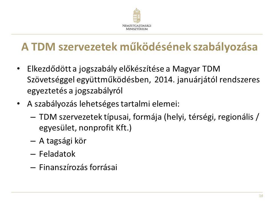 A TDM szervezetek működésének szabályozása