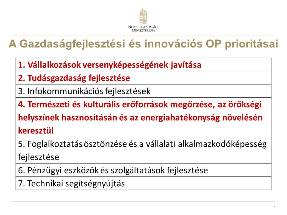 A Gazdaságfejlesztési és innovációs OP prioritásai