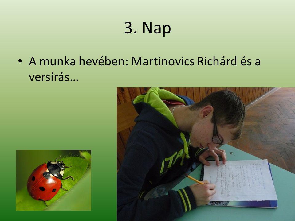 3. Nap A munka hevében: Martinovics Richárd és a versírás…