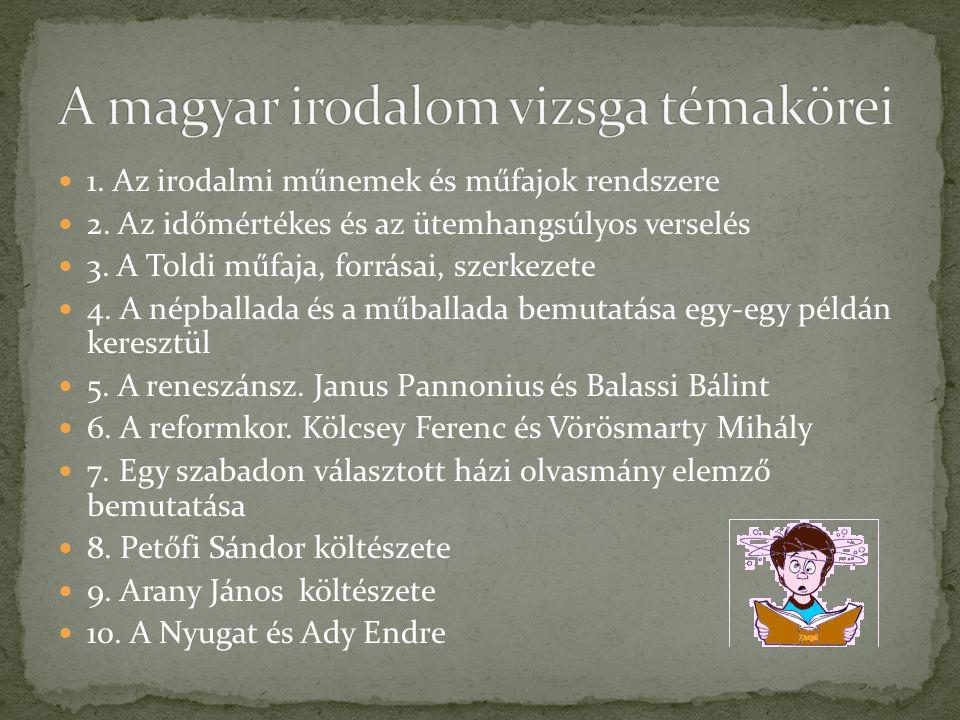 A magyar irodalom vizsga témakörei