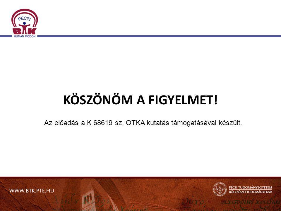 KÖSZÖNÖM A FIGYELMET! Az előadás a K 68619 sz. OTKA kutatás támogatásával készült.