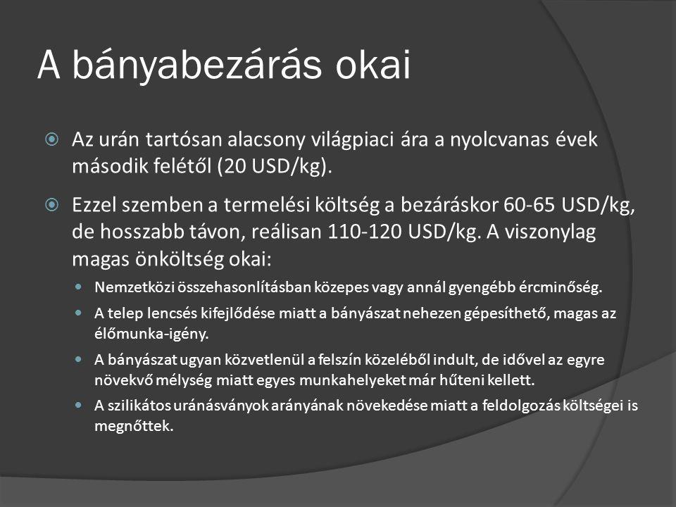 A bányabezárás okai Az urán tartósan alacsony világpiaci ára a nyolcvanas évek második felétől (20 USD/kg).
