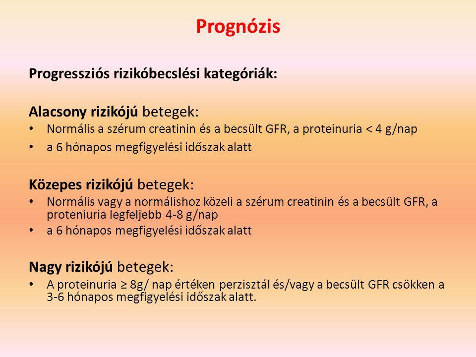 Prognózis Progressziós rizikóbecslési kategóriák: