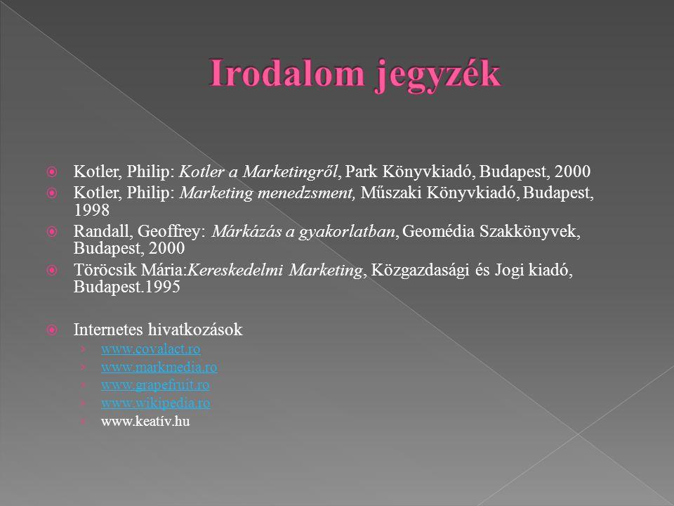 Irodalom jegyzék Kotler, Philip: Kotler a Marketingről, Park Könyvkiadó, Budapest, 2000.