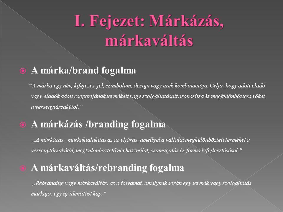 I. Fejezet: Márkázás, márkaváltás
