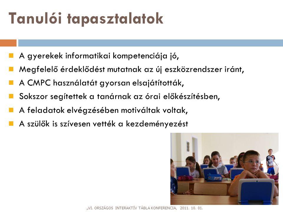 """""""VI. ORSZÁGOS INTERAKTÍV TÁBLA KONFERENCIA, 2011. 10. 01."""